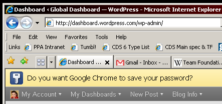 IE window showing a Google Chrome message